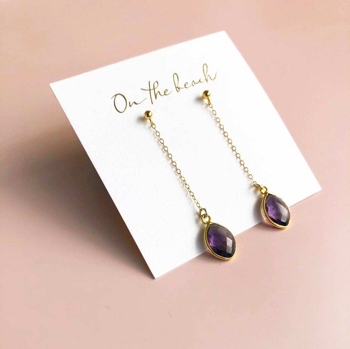 Amethyst chain pierced earrings / OTB-70