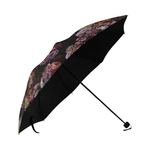 芍薬牡丹百合 黒 折りたたみ日傘