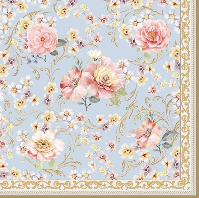 【Easy Life】バラ売り2枚 ランチサイズ ペーパーナプキン Majestic Flowers ブルー