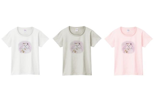 フルート猫のTシャツ(2匹)