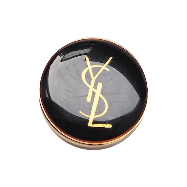 【VINTAGE SAINTLAURENT BUTTON】ブラック ゴールドロゴ ボタン 2.2㎝ Y-21001