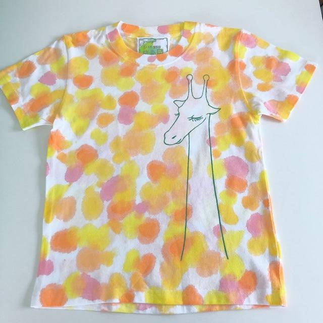 kidsTシャツ130cm「おすましキリン ふわふわドット」130-21422