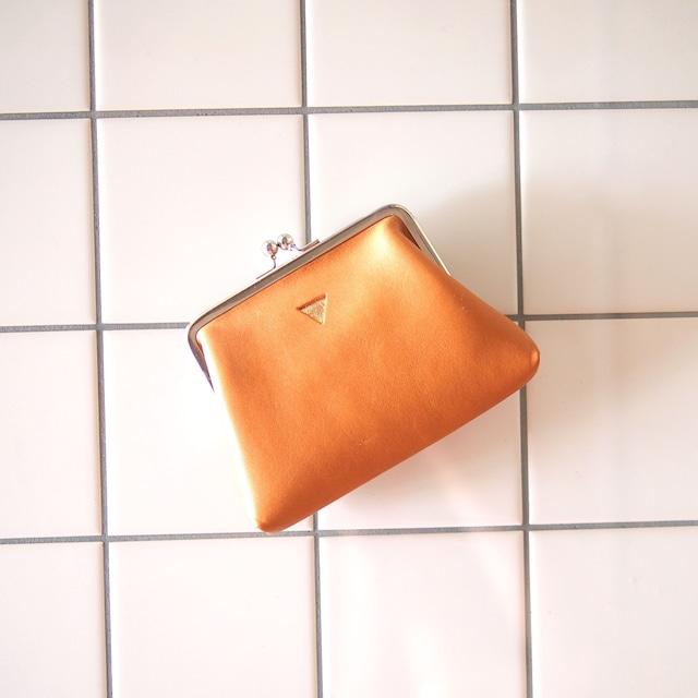 mini   ウォレット/がまぐち財布 キャメル×グレージュ(口金シルバー)