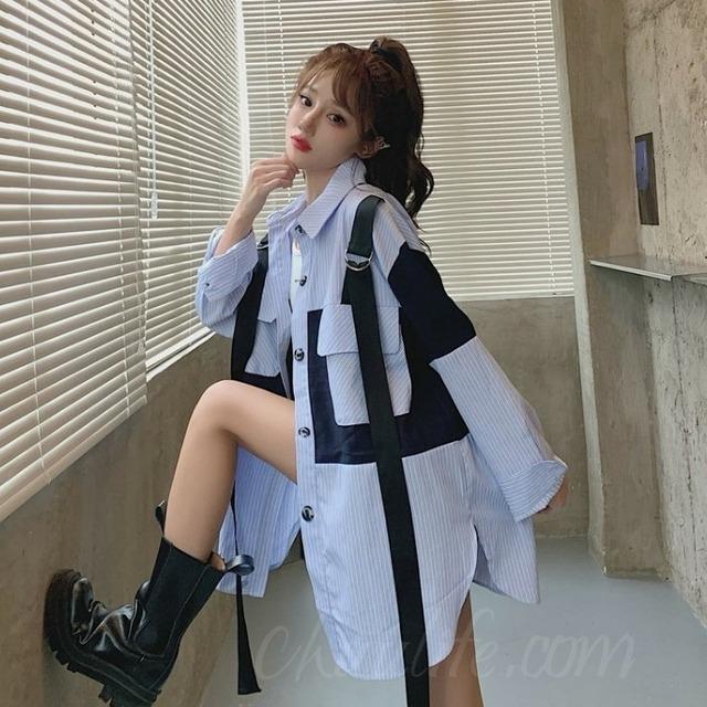【トップス】レトロ長袖シングルブレストPOLOネック切り替えシャツ52679472