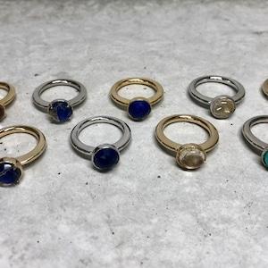 【LR-3BR】Nnatural stone ring A/ルチルQ  B/アメジスト C/ラピスラズリ D/アマゾナイト E/ルチルQラピスダブレット F/タンザナイト