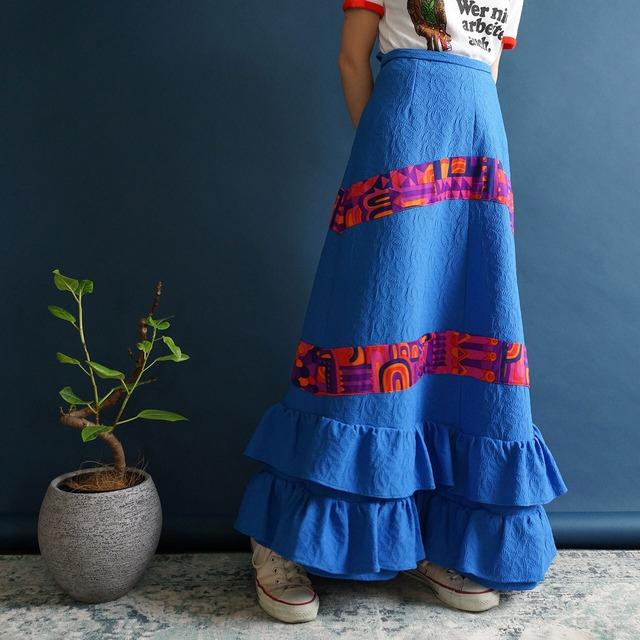 【送料無料】70's Vintage Blue Textured Ruffle Details Maxi Skirt