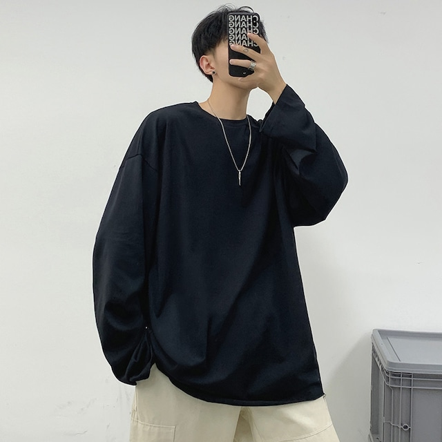 【メンズファッション】カジュアル長袖ラウンドネックプルオーバーTシャツ51710644