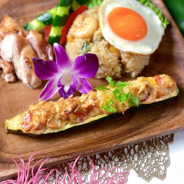 夏野菜と海老のズッキーニボート