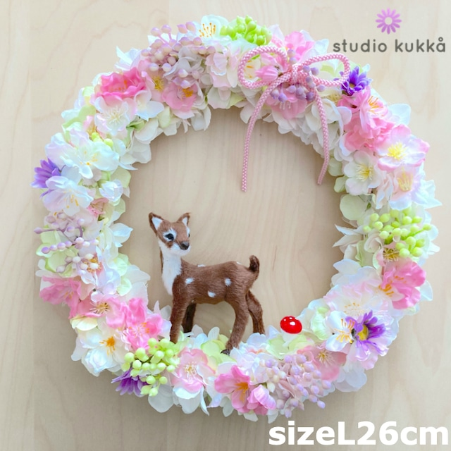 送料無料 直径26cm♡桜とアジサイのグラデーションリース バンビときのこ ピンクリボン  春リース チェリーブロッサム