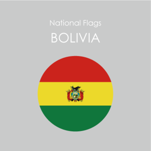 円形国旗ステッカー「ボリビア」