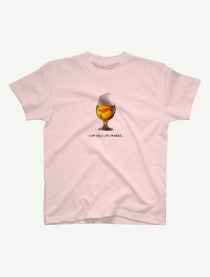 【ビールの中でしか・・・ウミガメ】Tシャツ(ベビーピンク)