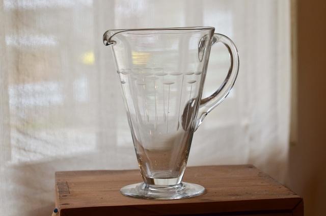 20世紀初期 吹きガラス製 ピッチャー 切子細工