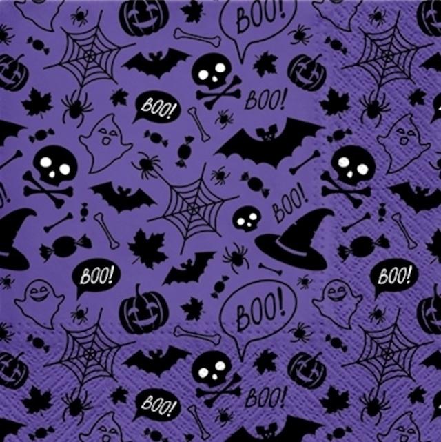 【PAW】バラ売り2枚 ランチサイズ ペーパーナプキン Halloween Pattern バイオレット