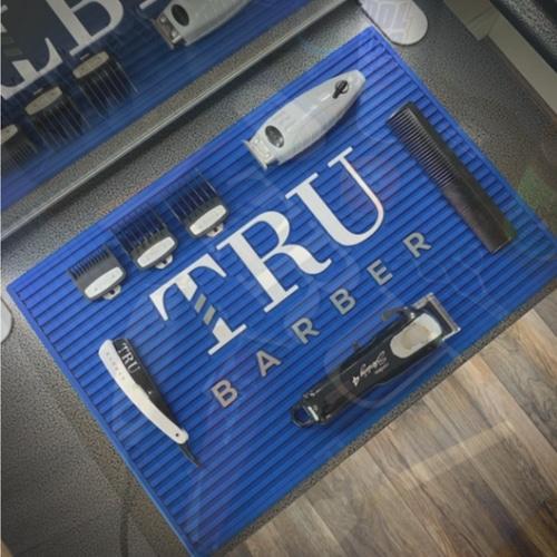 【再発売】TRU BARBER ワークステーションマット ブルーxホワイト