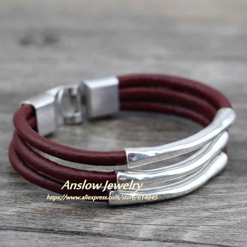 多層ラップワイヤーファッションジュエリー LOW0570LBwine red