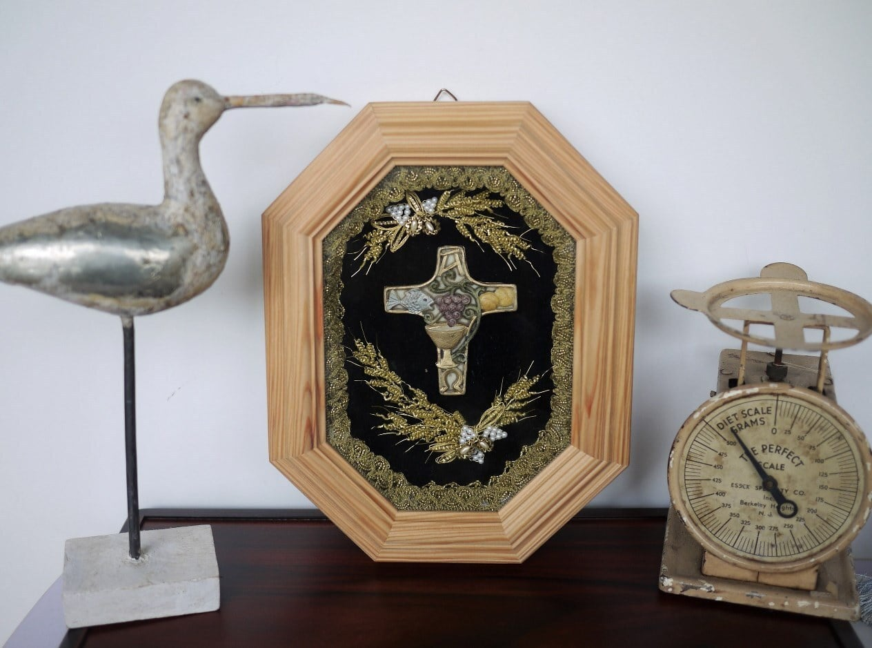 八角形茶額 日々の糧 麦と十字架