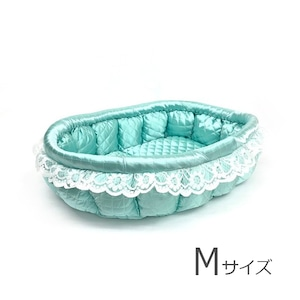 ふーじこちゃんママ手作り ぽんぽんベッド(サテンミント)Mサイズ【PB9-034M】