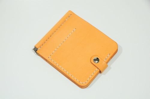 カードポケット付ヌメ革マネークリップ