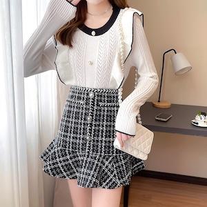 【2点セット】透かし編みトップス+フレアミニスカート ・19608