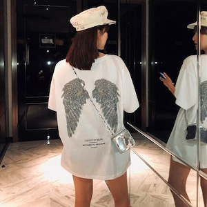 【トップス】半袖プリントツバサ図柄シンプルカジュアルストリート系Tシャツ41998093