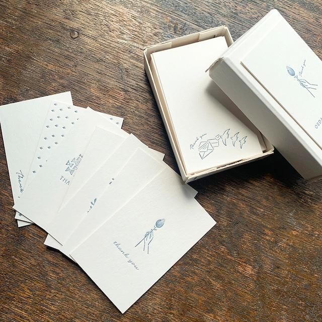 【活版印刷】限定色 Thank you card box  紺鼠(カード7種アソート30枚入り)