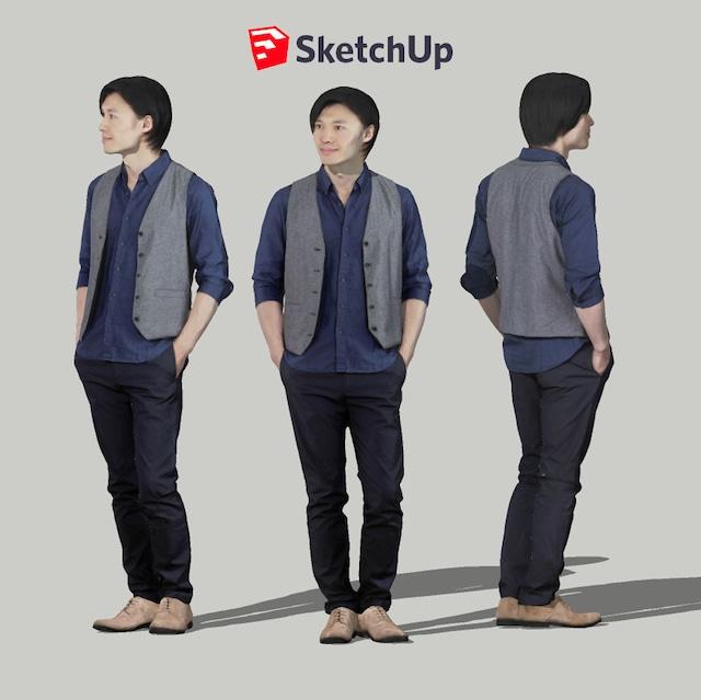 SketchUp素材 3D人物モデル ( Posed ) 069_Syun - メイン画像