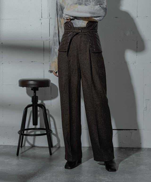 QUILT BELT TWEED PANTS  (BROWN)