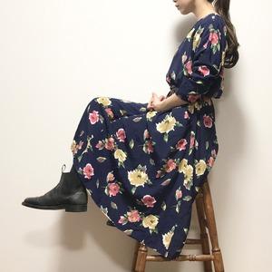 【USED】ドルマンスリーブ 大花柄 レーヨン ワンピース ネイビー