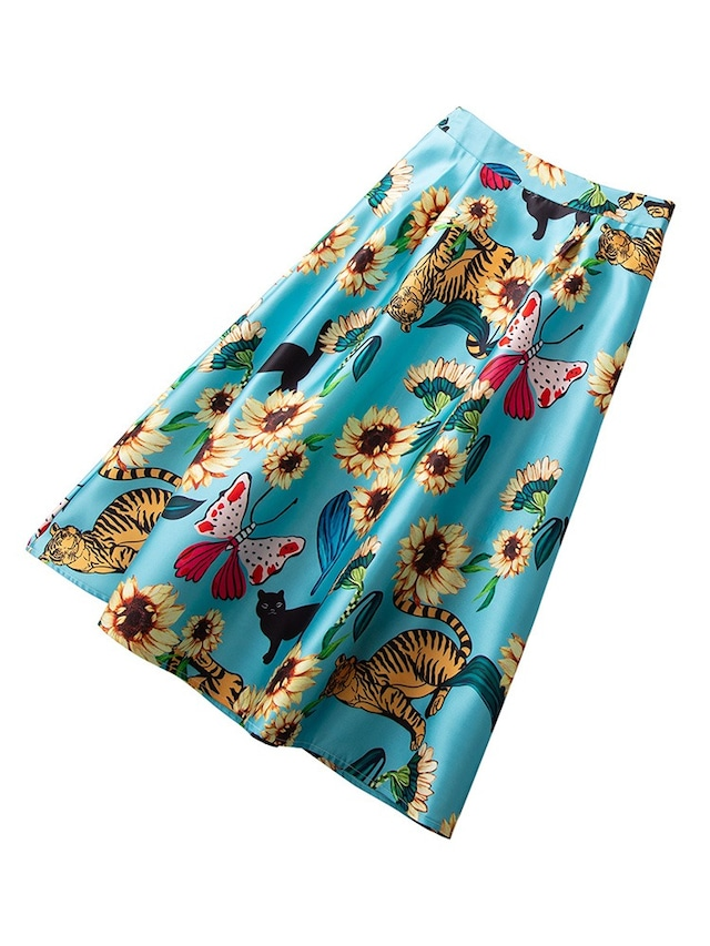 フラワーアニマル柄Aラインスカート 【210412】