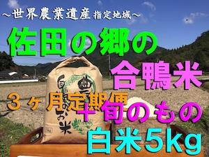 【令和3年新米】佐田の郷の米(3ヶ月定期便<白米5kg/玄米5.5kg+旬のもの>×4回)【アイガモ米】