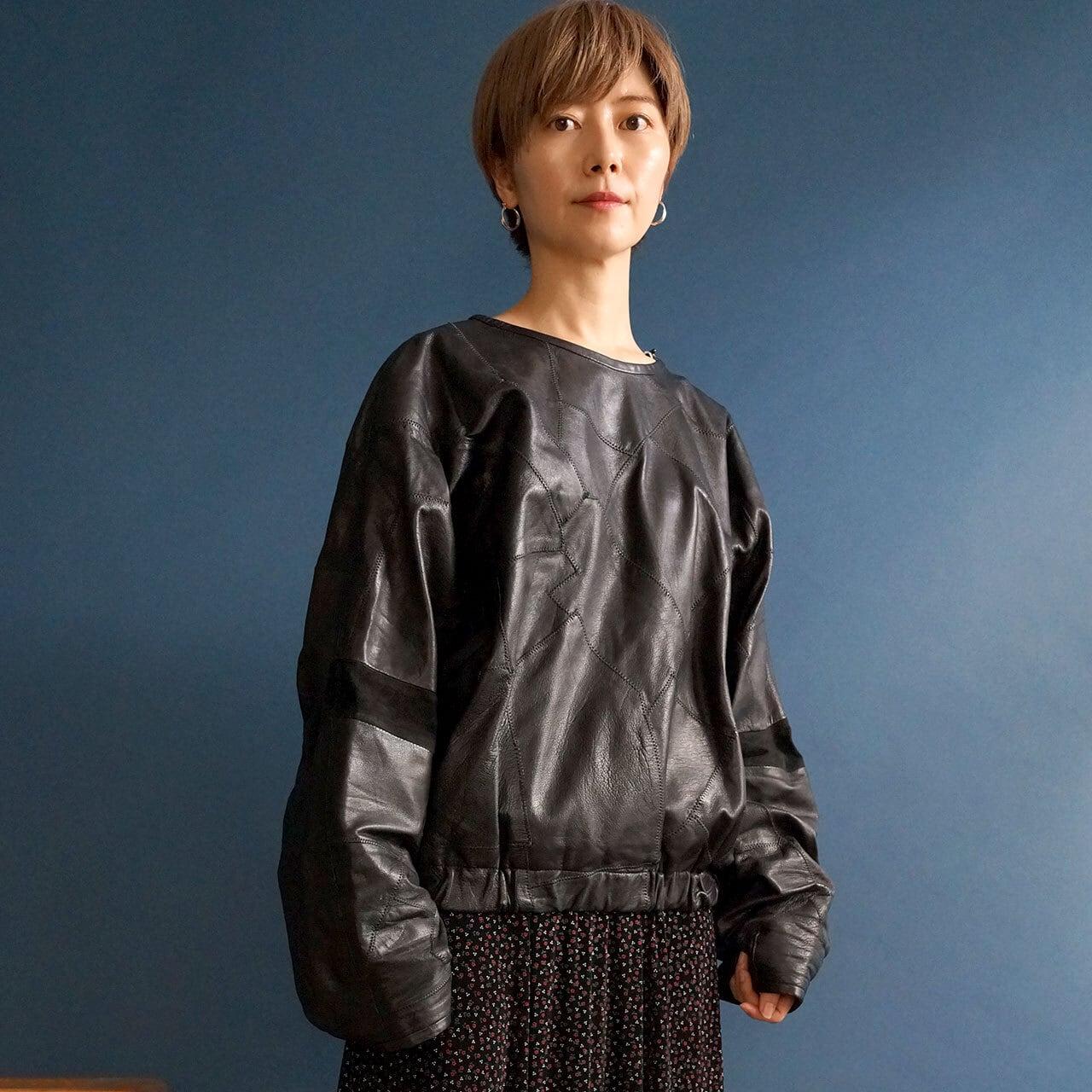 【送料無料】80's vintage black leather patchwork pullover