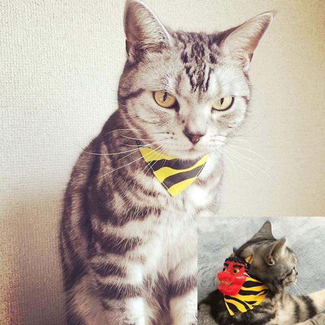【赤鬼のミニお面つき】トラ柄イエロー・猫用バンダナ風セーフティ首輪/選べるセーフティバックル