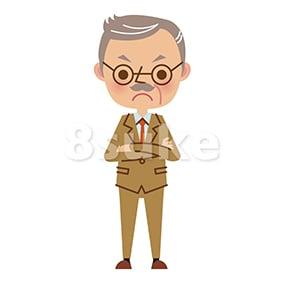 イラスト素材:腕組みをする社長・熟年のビジネスマン(ベクター・JPG)