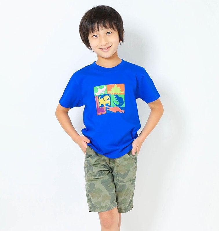 恐竜プリントTシャツ(子供用キューブプリント)ロイヤルブルー