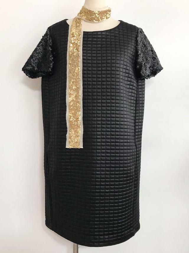 EUROPEAN CULTURE マットスパンコール ドレス ブラック(黒)