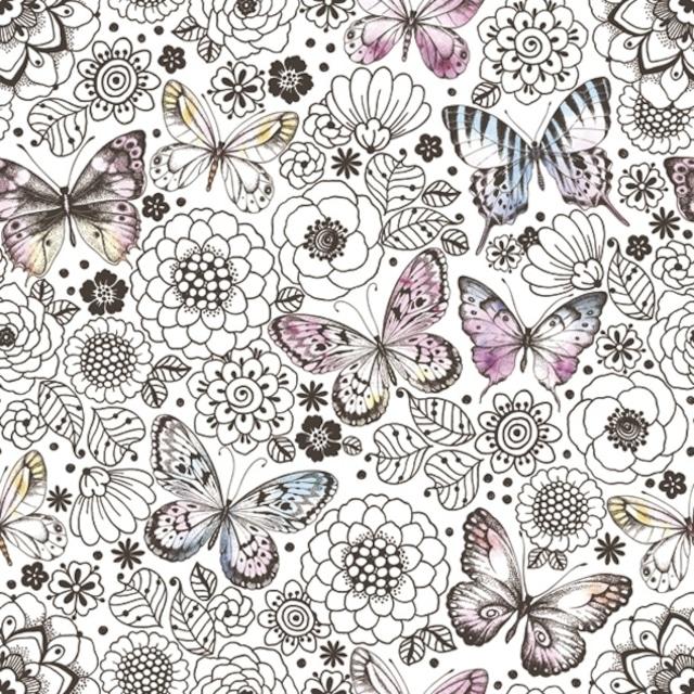 【Maki】バラ売り2枚 ランチサイズ ペーパーナプキン GRAPHIC BUTTERFLIES AMONG COLORING FLOWERS ホワイト