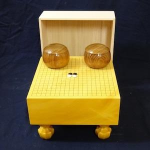 四方木口本榧ミニ碁盤 桐覆・碁石・別誂本桑碁笥セット