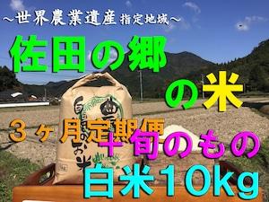 【令和3年新米】佐田の郷の米(3ヶ月定期便<白米10kg/玄米11kg+旬のもの>×4回)【慣行栽培米】