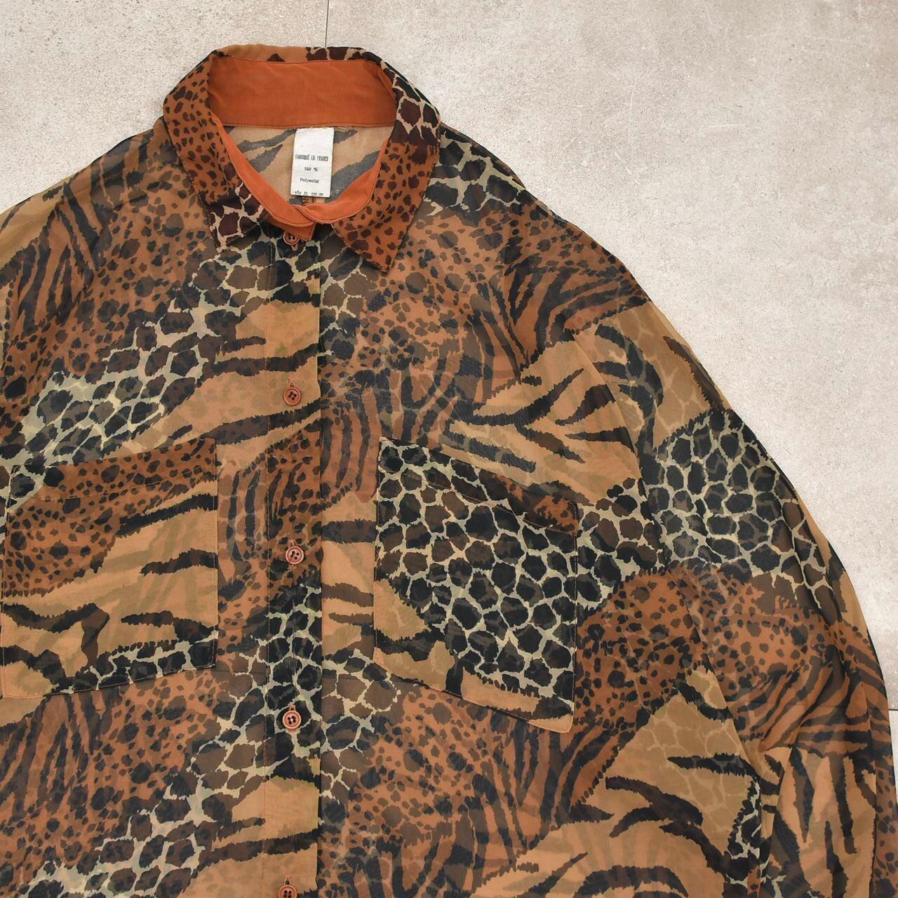 French vtg animal crazy pattern sheer shirt