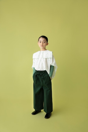 【21AW】folkmade(フォークメイド)  embroidery rogo sailor シャツ offwhite×green(L)