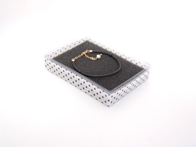 栃木レザーを使用したシンプルレザー&14kgfブレスレット(ブラック)