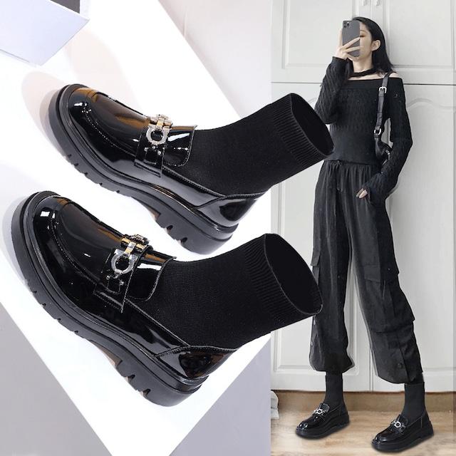 【シューズ】ラインストーンファッション丸トゥブーツ42914964