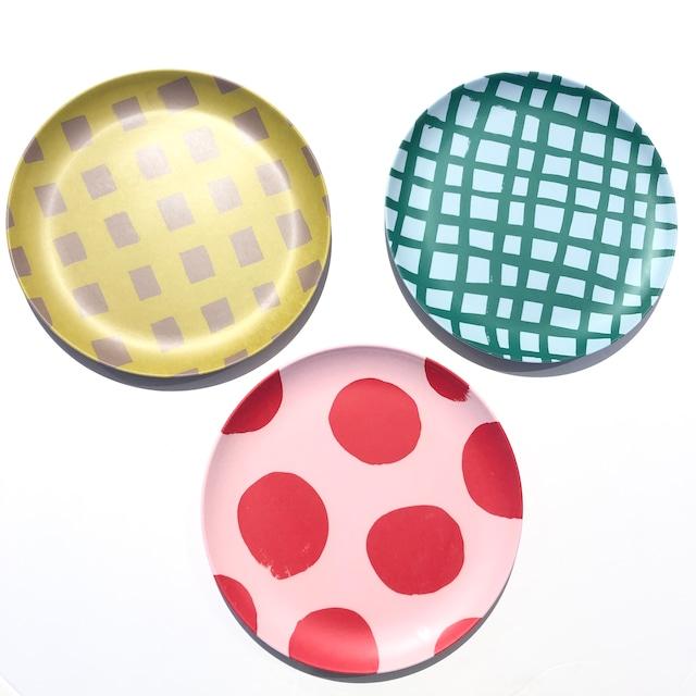 Goma bamboo plate【L】- Bold check / Circle / Check プレート 食器