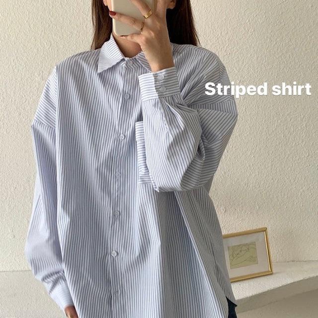 【トップス】トレンドストライプ長袖シャツ(Blue)