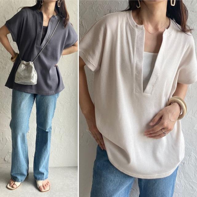 ◆即納モカのみラスト1点◆深Vネックワッフルサイドスリットプルオーバー半袖Tシャツ OP-t178