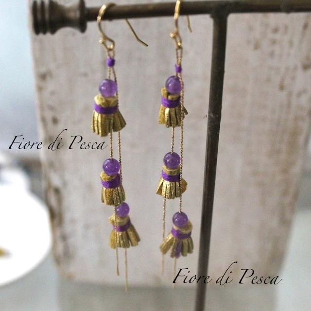 Tiny Tassel Pierce (Earing)  Purple