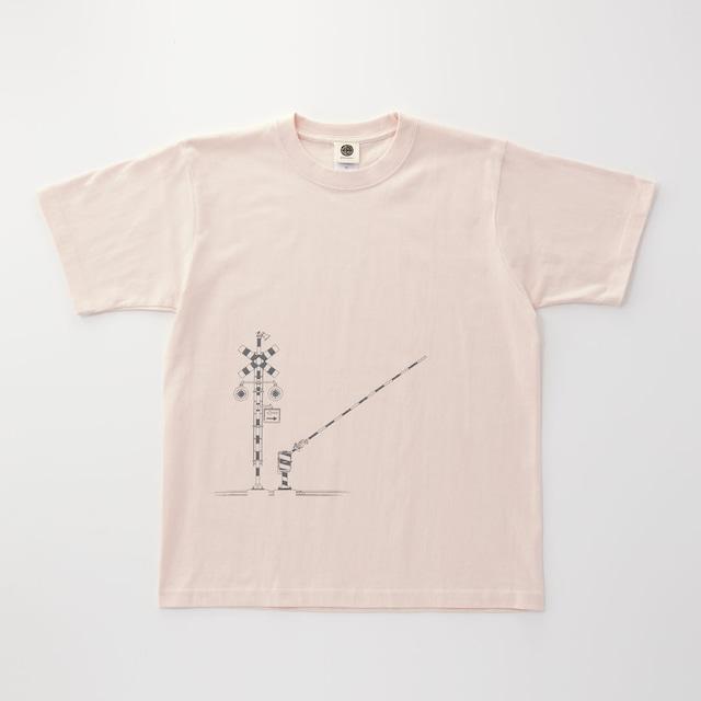 鉄道Tシャツ|踏切 ( Baby Pink × Dark Gray )