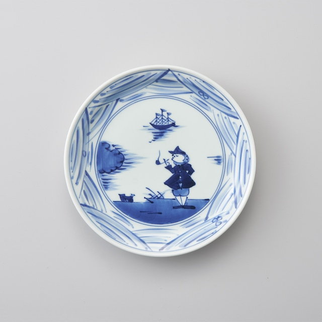 """【青花】""""長崎紋"""" 6寸ケーキ皿"""