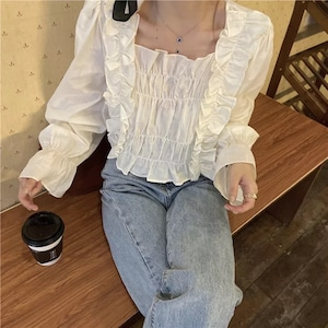 wave frill blouse[2103-29]