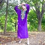 Purple velour flower ethnic dress